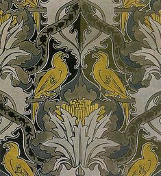 Voysey Textile Design | Textile design by Charles Francis Annesley Voysey, produced by Silver ...