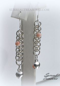 Pink Champane Earring ...Sterling silver  puff by SurrealTreasures