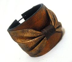 SALE Leather copper color bow cuff bracelet by julishland on Etsy, $18.00
