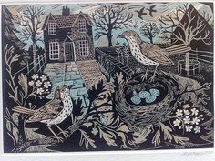 Linocut by Mark Hearld - Garden Birds