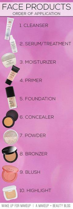 Cleanser, serum, moisturizer, primer, foundation, concealer, powder, bronzer, blush, highlight. Cool? Cool.