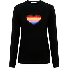 Bella Freud - Rainbow Heart Sweater ($420) ❤ liked on Polyvore featuring tops, sweaters, fuzzy sweater, crew sweater, crew neck top, bella freud sweater and crew top