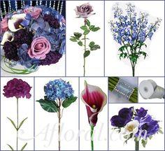 Lavender Roses, Blue Delphinium,  Purple Carnations, Blue Hydrangea and Cream and Purple Calla Lilies