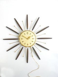 Vintage++Brass+&+Wood+Wall+Clock+Starburst+by+cheerfulowl+on+Etsy,+$85.00