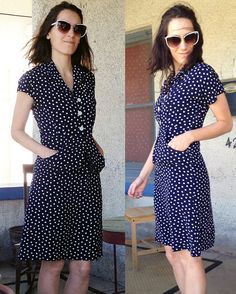 1940s Blue & White Polka Dotty Dress with by fashionREdesign, $135.00