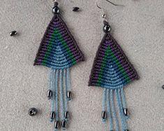 Macrame earrings, triangle earrings, boho jewelry, boho earrings, tibetan jewelry