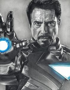 Drawing of Iron Man Robert Downey Jr from by JohnDiBiaseArt, $15.00