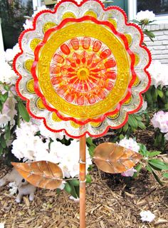 Garden Art Garden Gift Glass Plate Flower Repurposed Glass Art