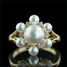 Antique Mikimoto Pearl Cluster Ring