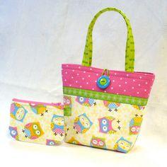 Cute Little Girls Purse Polka Dot Owls Mini Tote Bag and Coin Purse Set Hot Pink Lime Blue Handmade MTO via Etsy