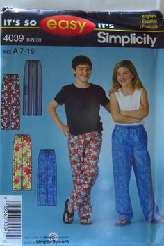 Simplicity 4039 Girls' and Boys' Pants