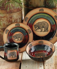 Forest Bear Pottery Forest Bear Pottery An artful addition to your table the handcrafted pottery stoneware Forest Bear Pottery Dinnerware is glazed in ... & rustic dinnerware sets clearance | ... » Rustic Cabin u0026 Lodge ...