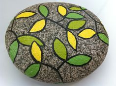 READY TO SHIP Green Forest Enamel Painted River Rock. $18.00, via Etsy.