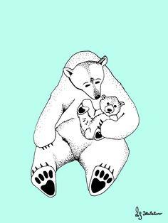 Plakat. Isbjørn med unge. Mor og barn. LS illustrationer