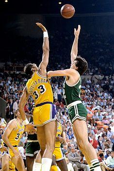 Kevin McHale vs  Kareem Abdul-Jabbar in the 1985 NBA Finals.