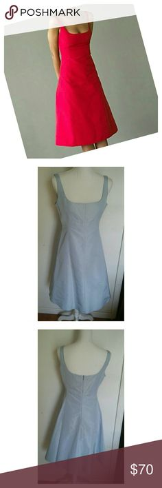 J.CREW 100% SILK A LINE DRESS In good condition. Has a liner to make the dress a little fuller. 100% silk. Has a little sheen to it. So pretty. Zips up the back. The one I have available is in baby blue, J. Crew Dresses