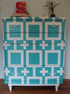 Aqua & White Geometric Dresser. Turquoise Hand painted console chest. SOLD.