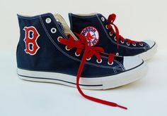 Red Sox Converse shoes by certainclouds on Etsy, $100.00