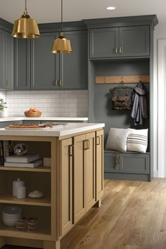 Dark gray kitchen cabinets with accented open shelving and a small island cozy up this space. Greyhound dark gray paint is a perfect addition to Aristokraft's on-trend color palette and it's easy to mix with other paints and stains. Grey Painted Kitchen, Dark Grey Kitchen Cabinets, Kitchen Cabinets In Bathroom, Kitchen Paint, Mud Rooms, Laundry Rooms, Quality Cabinets, Gray Paint, Small Island
