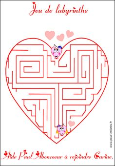 Maze games: a maze game to print for Valentine's D - Saint Valentin Saint Valentine, Valentine Crafts, Valentines Day, Maze Game, Valentine's Cards For Kids, Different Holidays, Activity Centers, The Balloon, Craft Tutorials