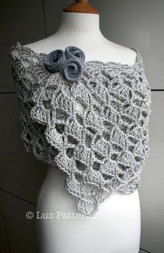 chal Crochet pattern Summer Evening wrap crochet pattern by LuzPatterns Poncho Au Crochet, Crochet Wrap Pattern, Crochet Patron, Crochet Shawls And Wraps, Crochet Motifs, Crochet Flower Patterns, Love Crochet, Crochet Scarves, Crochet Clothes