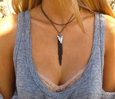 Gunmetal Arrow Necklace