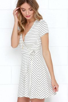 easy breasy striped wrap dress for summer