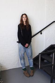 boyfriend jeans with an oversized black sweater