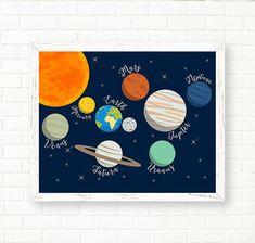 Baby Boy Nursery Prints Solar System Cosmos Poster INSTANT