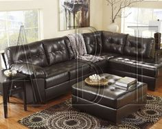 ashley alliston chocolate sectional and ottoman quality stores