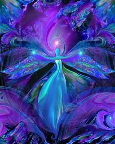 "The Seer by  Laurie Bain  (Laurie says: ""The Seer lives in the subconscious world of dreams where guidance and inspiration swirl in a sea of abstract colors, patterns and imagery. Predominantly purple, she represents the third eye, or sixth chakra which governs our intuition."")  [Click to read more of Laurie's explanation of her artwork!]"