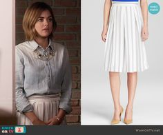 Aria's white striped skirt and chambray shirt on Pretty Little Liars.  Outfit Details: https://wornontv.net/55620/ #PLL