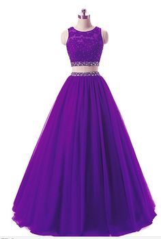 Women's Long 2 Pieces Lace Sequined Evening Party Gowns Beaded Appliques Formal Prom Dresses