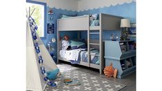Sale ends soon. This shark bedding is positively brimming with every kind of shark imaginable. The quilt features a dark blue base with plenty of appliqued ocean-themed accents. Twin Bunk Beds, Kids Bunk Beds, Shark Bedroom, Casa Disney, Bunk Bed Designs, Bed Reviews, Boy Room, Small Spaces, Small Rooms