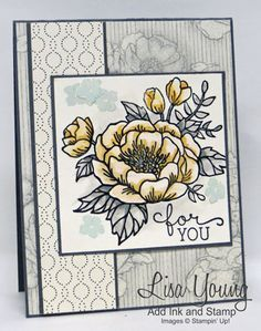 Birthday Blooms Stampin' Up! Floral card. Handmade card by Lisa Young, Add Ink and Stamp