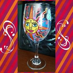 Sun smile wine glass www.facebook.com/illym.creating