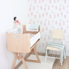 Bednest nursery with ice cream wallpaper. #bednest Hire or buy the Bednest from www.birthpartner.com.au