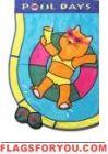 Pool Cat Applique Garden Flag