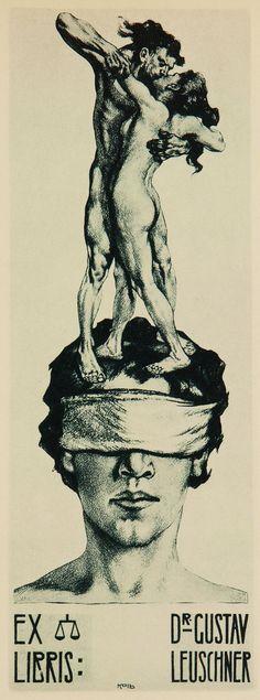 Ex Libris for Dr. Gustav Leuschner by Alois Kolb, ca.1922. Heliogravüre, 20 x 7 cm