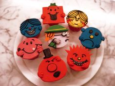 Mr Men Little Miss Cupcakes by Sliceofcake on DeviantArt Cupcakes For Men, Cupcakes Design, Miss Cupcake, Tooth Cake, Mr Men Little Miss, I Party, Party Ideas, Childrens Party, Baby Boy Shower