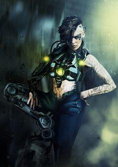ArtStation - Cyberpunk Girl, Inga Siebert
