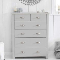 Chest Of Drawers Decor, Narrow Chest Of Drawers, Chest Of Drawers Makeover, Grey Drawers, Bedroom Drawers, Painted Drawers, Grey Painted Furniture, Recycled Furniture, Funky Furniture