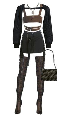 A fashion look from January 2018 featuring crop tops, Noir Kei Ninomiya and white mini skirt. Browse and shop related looks. Black Girl Fashion, Star Fashion, Look Fashion, Daily Fashion, Cute Swag Outfits, Edgy Outfits, Retro Outfits, Kpop Fashion Outfits, Stage Outfits