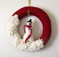 Winter Wreath, Snowman Wreath, Red Wreath, Felt and Yarn Wreath, 12 inch size - SHIPS JANUARY 2. $46.00, via Etsy.