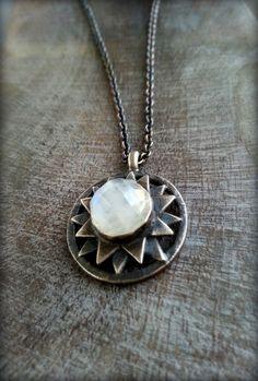 Sterling Star Necklace, Faceted Moonstone Gem, Celeste Necklace, Sacred Geometry Pendant, June Birthstone, Iridescent Celestial Amulet