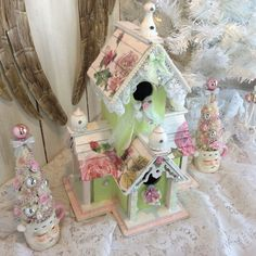Shabby chic Victorian bird house with roses by lilhoneysshoppe