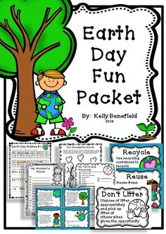 """Earth Day Fun Packet filled with language arts activities such as puzzles, abc order, adjectives, simple and compound sentences, writing, and more! Also included are great posters on recycling!  Buyer says, """"What fun ideas for Earth Day!""""  $"""