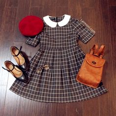 Retro Checks Peter Pan Dress