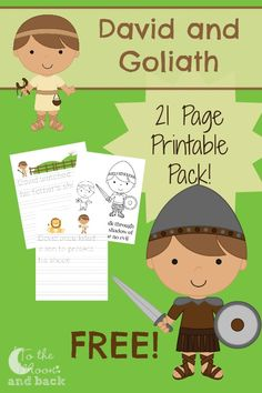 Get a FREE 21 page printable David and Goliath themed pack for early elementary aged students and find several other resources to accompany this Bible story Sunday School Activities, Sunday School Kids, Sunday School Lessons, Sunday School Crafts, David Et Goliath, David And Goliath Craft, David And Goliath Story, Bible Study For Kids, Bible Lessons For Kids