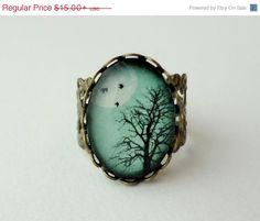 BLACK FRIDAY SALE- Shop Sale- Aqua Turquoise Winter Tree Filigree Statement Ring. Birds. Winter Tree. Full Moon. Sky